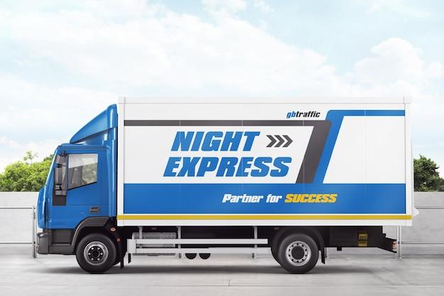 Levering vrachtwagen mockup
