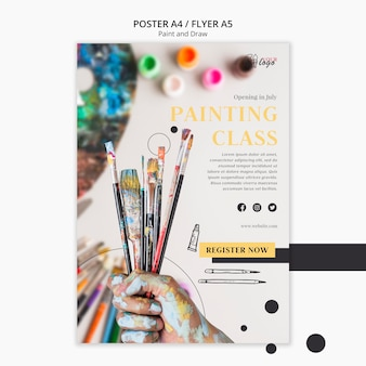 Lezioni di pittura per bambini e adulti modello di volantino