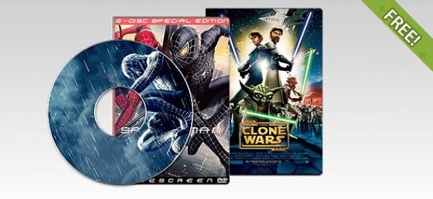 Libre psd dvd de disco y caja
