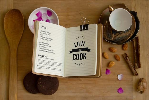 Libro di ricette / tipografia mockup