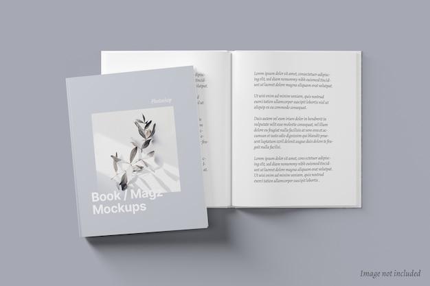 Libro e copertina di una rivista e diffusione mockup