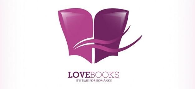 Libro logo vettore libero di amore e romanticismo