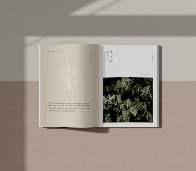 Libro con maqueta de revista editorial de naturaleza