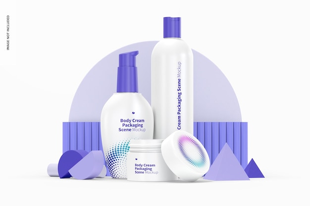 Lichaamscrème verpakking scène mockup Premium Psd