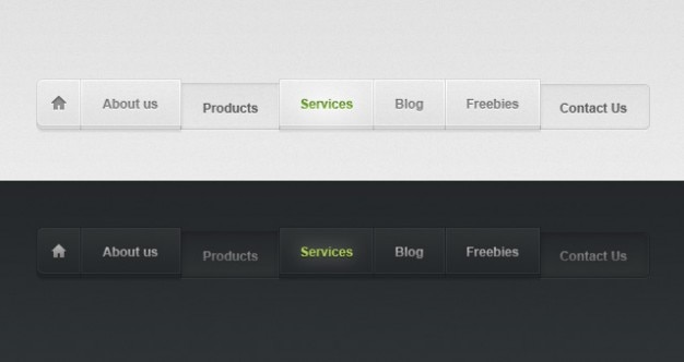 Licht en donker psd web menu