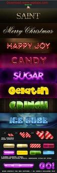 Lichtgevende tekens kleurrijke lettertypen in psd