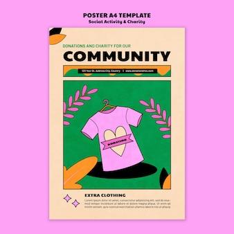 Liefdadigheidsschenking poster sjabloonontwerp