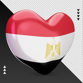 Liefde egypte vlag haard 3d-rendering linker weergave