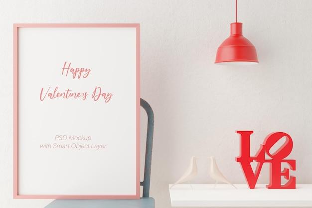 Liefde en valentijnsdag met fotolijst mockup in 3d-rendering