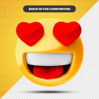 Liefde hart emoji 3d render voor compositie