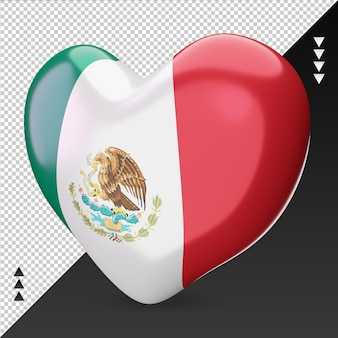 Liefde mexico vlag haard 3d-rendering juiste weergave