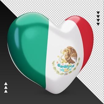 Liefde mexico vlag haard 3d-rendering linker weergave