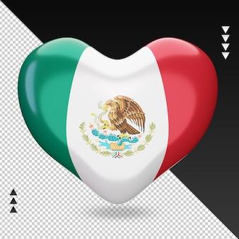 Liefde mexico vlag haard 3d-rendering vooraanzicht