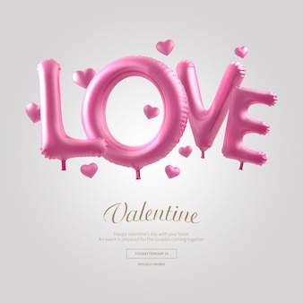Liefde roze woord ballon banner