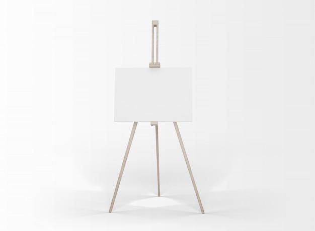 Lienzo de arte en un caballete aislado en blanco