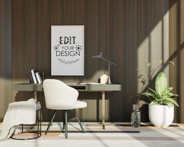 Lienzo de arte de pared o marco de imagen en maqueta de escritorio de oficina
