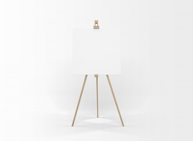 Lienzo en blanco sobre un caballete de madera aislado