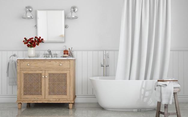 Ligbad met gordijn en wastafel op kast