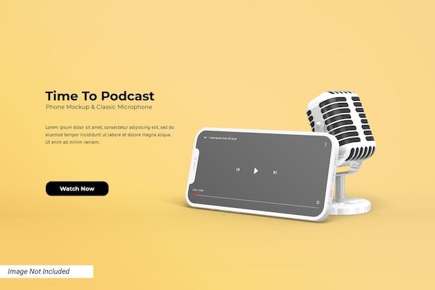 Liggend telefoonmodel met sjabloon voor youtube-videospeler en klassieke 3d-microfoon
