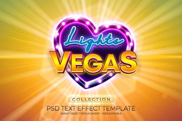 Light vegas love efecto de texto brillante personalizado