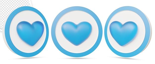 Like of hart pictogram in 3d-rendering ontwerp