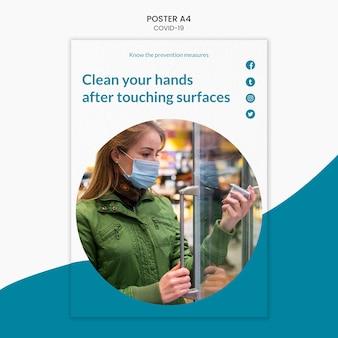 Limpia tus manos plantilla de póster covid-19