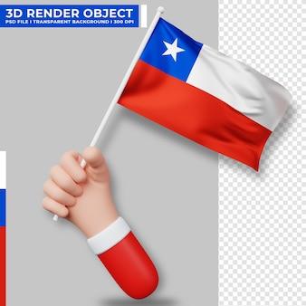 Linda ilustración de la mano que sostiene la bandera de chile. día de la independencia de chile. bandera del país.