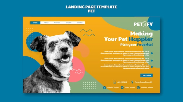 Linda plantilla de página de destino para mascotas