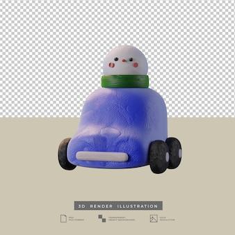 Lindo coche azul de arcilla con ilustración 3d de vista frontal de muñeco de nieve de navidad