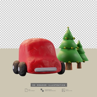 Lindo coche rojo de arcilla con ilustración 3d de árbol de navidad