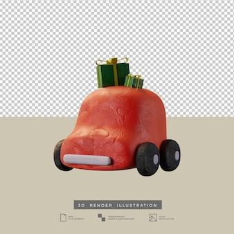 Lindo coche rojo de arcilla con ilustración 3d de caja de regalo de navidad