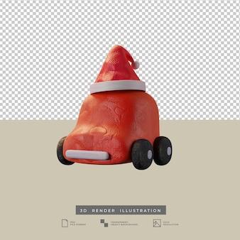 Lindo coche rojo de arcilla con ilustración 3d de sombrero de santa de navidad