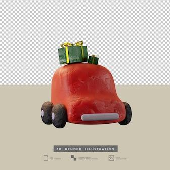 Lindo coche rojo de arcilla con ilustración 3d de vista frontal de caja de regalo de navidad
