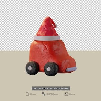 Lindo coche rojo de arcilla con ilustración 3d de vista lateral de sombrero de santa de navidad