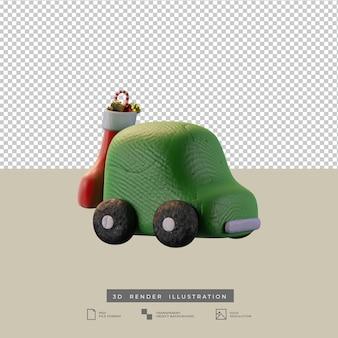 Lindo coche verde de arcilla con ilustración 3d de vista lateral de calcetín de navidad