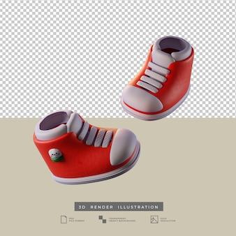 Lindos zapatos rojos navideños con muñeco de nieve pequeño ilustración 3d