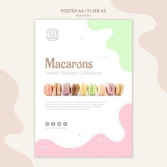 Linea di modello di poster di macarons