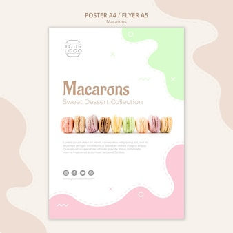 Línea de plantilla de póster de macarons
