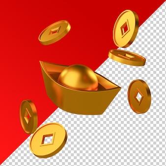 Lingote de moneda de oro de año nuevo chino aislado render 3d transparente