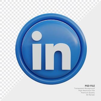 Linkedin 3d-stijl logo concept icoon in ronde geïsoleerd