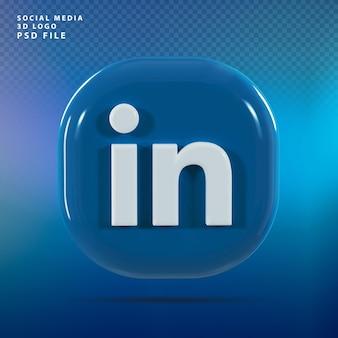 Linkedin logo 3d render luxe