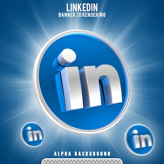 Linkedin logo pictogram 3d render scène maker geïsoleerd