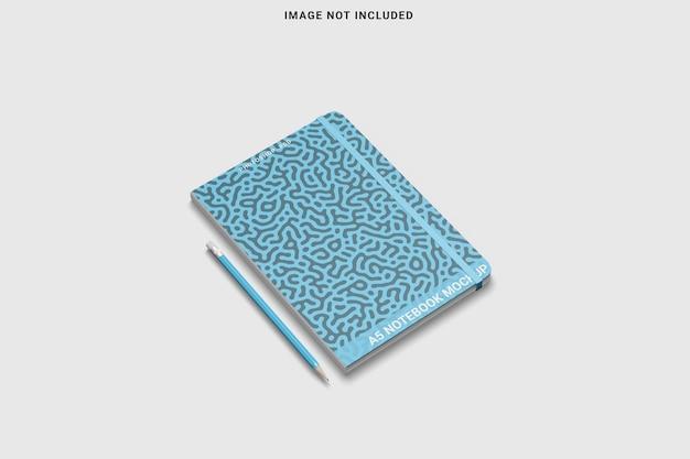 Linker weergave van notitieboekje met ronde hoek