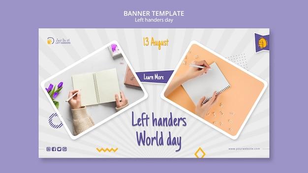 Linkshandige dag banner ontwerp