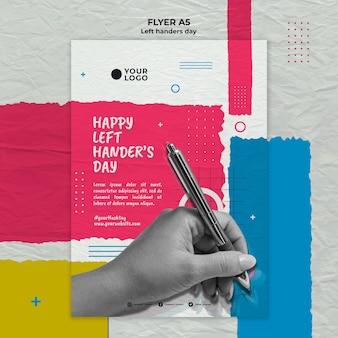 Linkshandige dag concept flyer sjabloon
