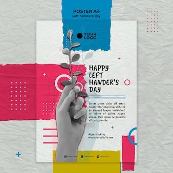 Linkshandige dag concept poster sjabloon
