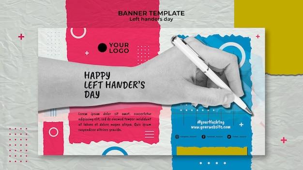 Linkshandige dag concept sjabloon voor spandoek