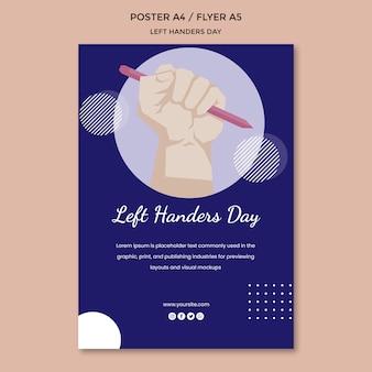 Linkshandige dag poster sjabloon