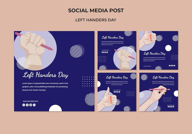 Linkshandige dag social media postsjabloon