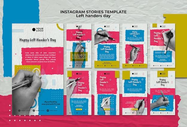 Linkshandigen dag concept instagram verhalen sjabloon